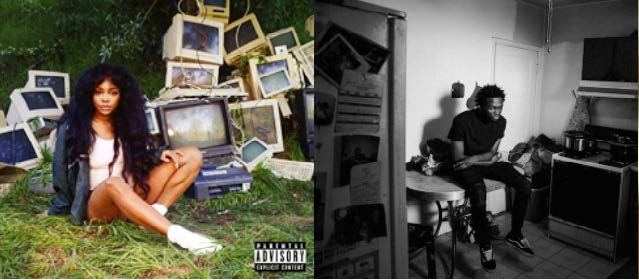 """The album covers of """"Ctrl,"""" featuring the singer SZA in front of a pile of junk computers on green grass, and the rapper Saba sitting in a kitchen in a black and white photo for his album cover """"Care for Me."""""""