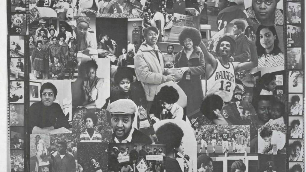 Montage of cutouts of Black UW-Madison students featured in the March 1973 issue of The Black Voice